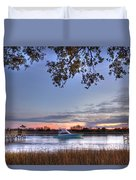 Blue Boat Passing Duvet Cover