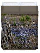 Blue Bonnet Fence V2 Duvet Cover