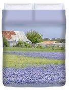 Blue Bonnets Barn V2 Duvet Cover