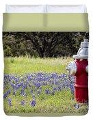 Blue Bonnets Fire Hydrant V2 Duvet Cover