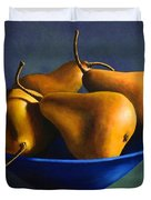 Blue Bowl With Four Pears Duvet Cover