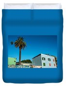 Blue Building In Historic Neighborhood Duvet Cover