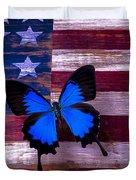 Blue Butterfly On American Flag Duvet Cover