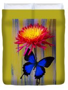 Blue Butterfly On Fire Mum Duvet Cover