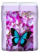 Blue Butterfly On Pink Hydrangea Duvet Cover