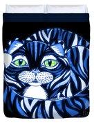 Blue Cat Green Eyes Duvet Cover
