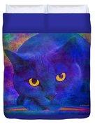 Blue Cat Ponders Duvet Cover