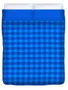 Blue Checkered Tablecloth Fabric Background Duvet Cover