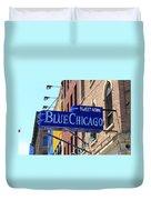 Blue Chicago Club Duvet Cover