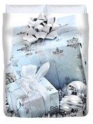 Blue Christmas Gift Boxes Duvet Cover