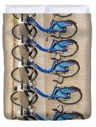 Blue City Bikes Duvet Cover