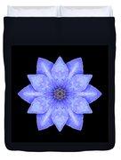 Blue Clematis Flower Mandala Duvet Cover