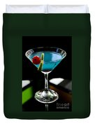 Blue Cocktail With Cherry And Lime Duvet Cover