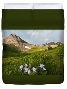Handie's Peak And Blue Columbine On A Summer Morning Duvet Cover by Cascade Colors