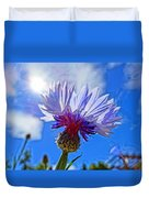 Blue Cornflower With Blue Sky Duvet Cover