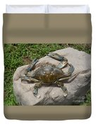 Blue Crab On The Rock Duvet Cover