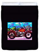 Blue Dogs On Motorcycles - Dawgs On Hawgs Duvet Cover