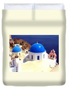Blue Domes In Santorini Duvet Cover