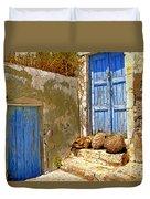 Blue Doors Of Santorini Duvet Cover