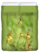 Blue Dragonfly In The Flower Garden Duvet Cover
