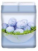Blue Easter Eggs In Bowl Duvet Cover