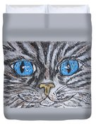 Blue Eyed Stripped Cat Duvet Cover