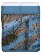Blue Fence Purple Flowers Duvet Cover