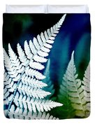 Blue Fern Leaf Art Duvet Cover