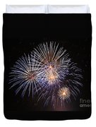 Blue Fireworks At Night Duvet Cover