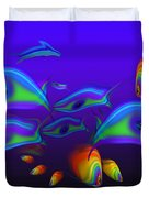 Blue Fish Dolphin Duvet Cover