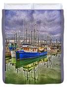 Blue Fishing Boat Hdr Duvet Cover
