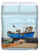 Blue Fishing Boat Duvet Cover