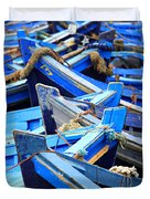 Blue Fishing Boats Duvet Cover