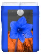 Blue Flower In The Fall At Night Duvet Cover