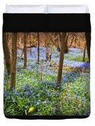 Blue Flowers In Spring Forest Duvet Cover