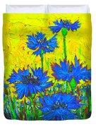 Blue Flowers - Wild Cornflowers In Sunlight  Duvet Cover