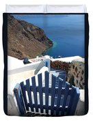Blue Gate Oia Santorini Greek Islands Duvet Cover