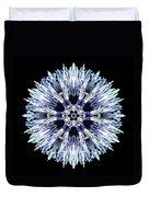 Blue Globe Thistle Flower Mandala Duvet Cover