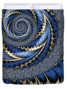 Blue Gold Spiral Abstract Duvet Cover