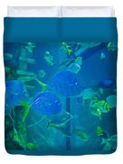 Blue Green Impression Duvet Cover