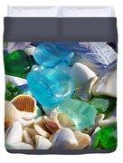 Blue Green Seaglass Shells Coastal Beach Duvet Cover by Baslee Troutman