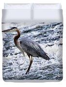 Blue Heron Fishing V3 Duvet Cover