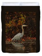 Blue Heron In The Fall Duvet Cover