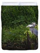 Blue Heron With A Fish-signed Duvet Cover