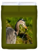 Blue Heron With A Snake In Its Bill Duvet Cover