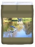 Blue Herons On Golden Pond Duvet Cover
