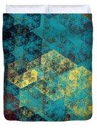 Blue Hexagon Fractal Art 2 Of 3 Duvet Cover
