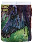 Blue Horse With Red Mane Duvet Cover