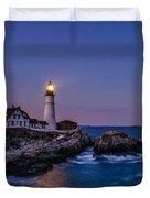 Blue Hour At Portland Head Lighthouse Duvet Cover