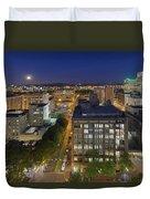 Blue Hour Moonrise II Over City Of Portland Oregon Duvet Cover